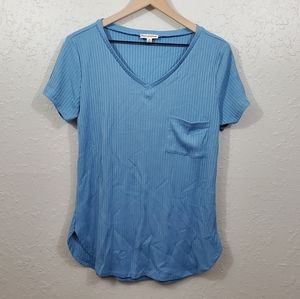 Zenana Outfitters Blue Ribbed T-Shirt with Pocket